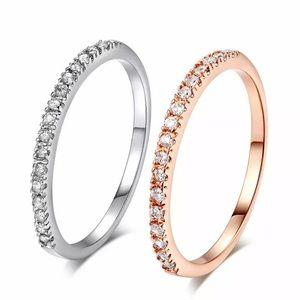 Silver Tone Ring w/ Cubic Zirconia Stones